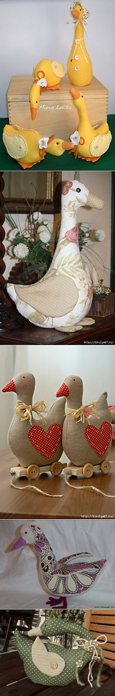 Geese, ducks from fabric