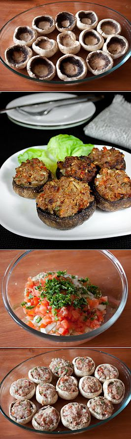 The champignons stuffed with meat