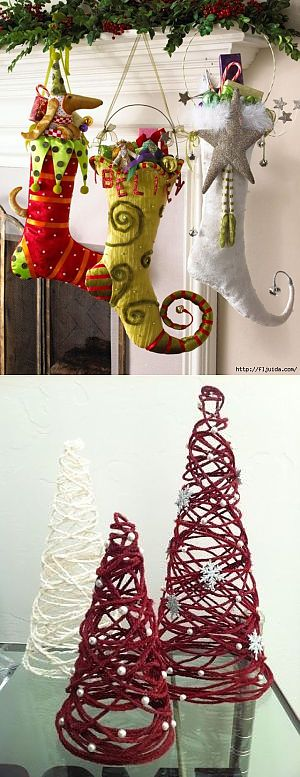 IDEAS OF THE NEW YEAR'S DECOR. SOCKS, FIR-TREES AND ANOTHER.