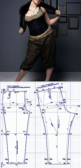 Patterns for full. A pattern of trousers for stout women. | Construct or download a pattern of trousers free of charge!