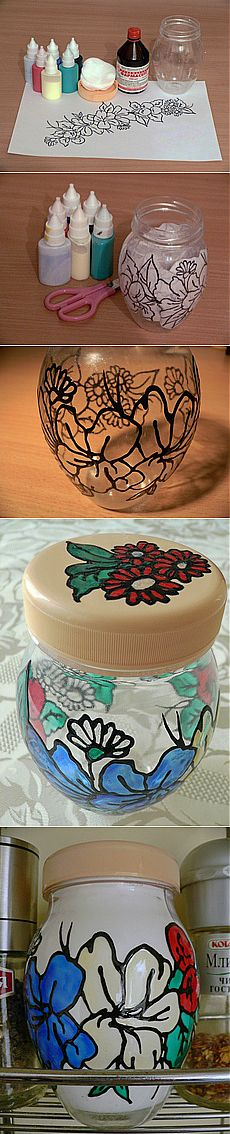 """Jar for spices in the \""""stained glass list\"""" equipment - Master classes - the Petal - Amateur floriculture"""